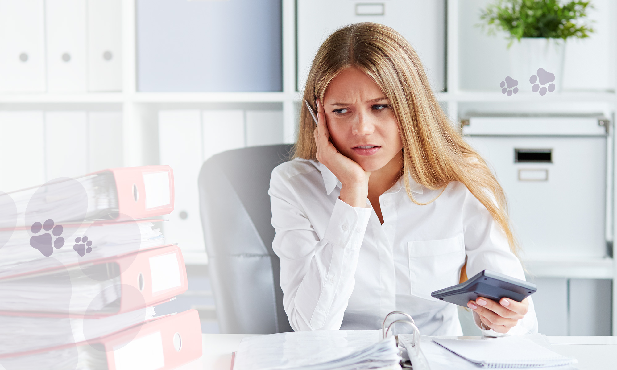 frustrated female holding calculator and frowning at mountain of folders and paperwork Furever Bookeeping